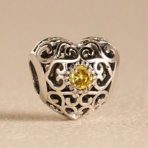 Authentic PANDORA  Birthstone November Heart Bead